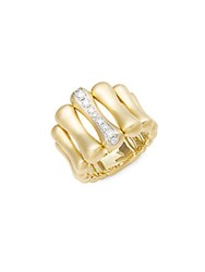 Chimento Bamboo Over Diamond And 18K Yellow Gold Ring
