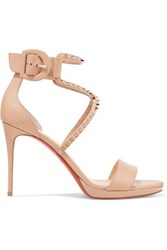 Christian Louboutin Choca Lux 100 Studded Leather Sandals Neutral
