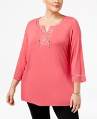 Jm Collection Plus Size Lace Up Hardware Top Perfect Rose