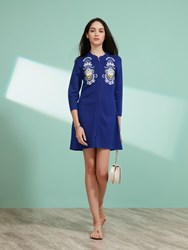 Shanghai Tang Cotton Royal Leaf Embroidery Long Cardigan Royal Blue