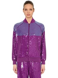 Alberta Ferretti Two Tone Sequined Track Jacket Purple