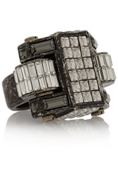 Lanvin Pewter Plated Crystal Ring