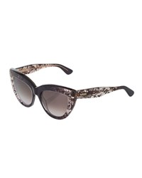 Valentino Lace Print Cat Eye Acetate Sunglasses Grey Faded