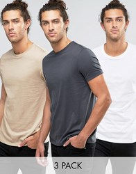Asos 3 Pack T Shirt In White Washed Black Beige Multi