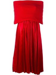 Comme Des Garcons Junya Watanabe Gara Ons Off Shoulder Pleated Dress Red