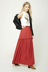 Forever 21 Ruffled Maxi Skirt Rust