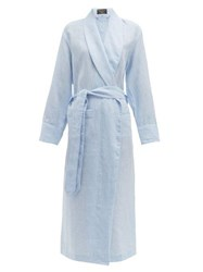 Emma Willis Belted Linen Robe Light Blue