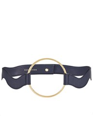 Roksanda Ilincic Navy Leather Wave Hoop Belt Blue