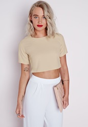 Missguided Capped Sleeve Crop Top Taupe Grey