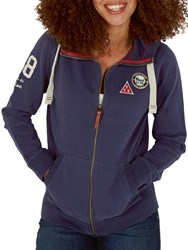Fat Face Badged Club Full Zip Hoodie Navy