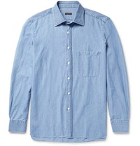 Rubinacci Slim Fit Cotton Chambray Shirt Light Blue