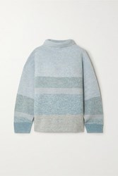 Le Kasha Kinsale Striped Cashmere Turtleneck Sweater Light Green