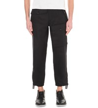Kolor Cropped Linen Trousers Black Navy