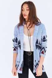 Ecote Patterned Shawl Cardigan Blue Multi