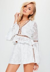 Missguided White Floral Jacquard Ladder Side Floaty Shorts