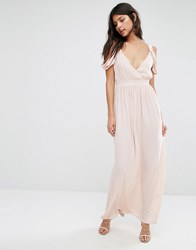 Oh My Love Cold Shoulder Grecian Maxi Dress Peach Pink