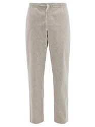 Orlebar Brown Stoneleigh Striped Cotton Blend Trousers Grey