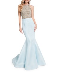 Glamour By Terani Couture Beaded Sleeveless Train Gown