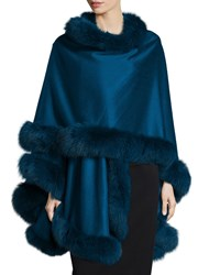 Fox Fur Trim Cashmere Cape Navy Sofia Cashmere
