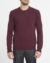 Hackett Burgundy Logo Contrasting Elbow Patches Round Neck Sweater