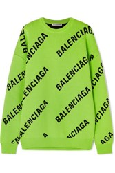 Balenciaga Oversized Intarsia Cotton Blend Sweater Green