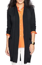 Women's Lauren Ralph Lauren Ribbed Shawl Collar Cardigan Black