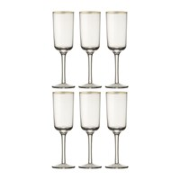 Bitossi Gold Rim Champagne Flutes Set Of 6 Clear