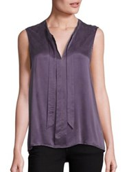 Splendid Tie Front Sleeveless Shirt Dusty Plum