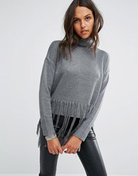 Religion Oversized High Neck Jumper With Tassels Grey Marl