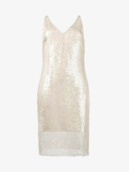 Haney Laura Sequin Embellished Slip Dress Nude And Neutrals