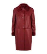 Pinko Faux Leather Coat Female Red