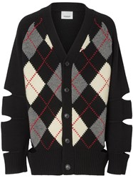 Burberry Cut Out Detail Merino Wool Cashmere Cardigan Black