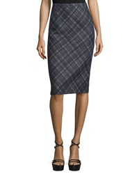 Michael Kors Mid Rise Plaid Pencil Skirt Black White Women's