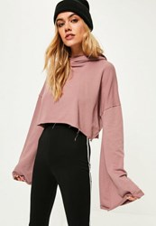 Missguided Purple Extreme Flare Sleeve Crop Hoodie Rose