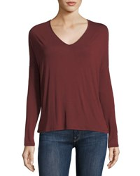 Majestic Paris For Neiman Marcus Soft Touch Long Sleeve Relaxed V Neck Tee Bordeaux