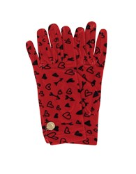 Moschino Gloves Heart Printed Chenille Gloves