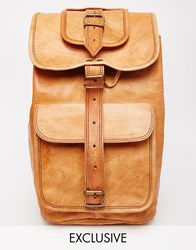 Reclaimed Vintage Leather Long Strap Backpack Tan