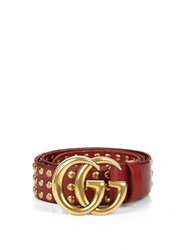 Gucci Gg Logo Studded Leather Belt Red