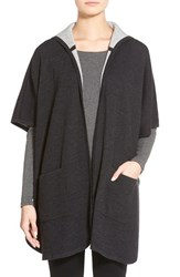Women's Eileen Fisher Knit Hooded Poncho Jacket Grey Charcoal