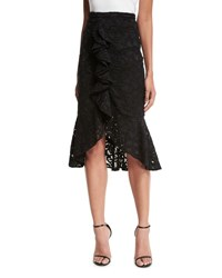 Alexis Marcello Ruffle Front Lace Midi Skirt Black