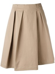 Jil Sander Pleated A Line Shorts Nude Neutrals