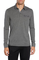 Ted Baker London Loomie Slim Fit Tipped Long Sleeve Polo Charcoal