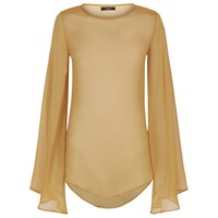 Vielma London Long Sleeve Sheer Top Yellow Orange