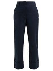 Prada Turn Up Cuff Cotton Trousers Navy