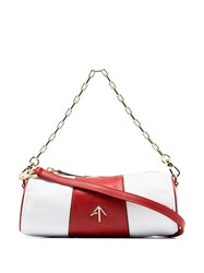 Manu Atelier Red And White Mini Cylinder Leather Shoulder Bag