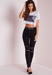 Missguided Sinner High Waisted Double Ripped Knee Skinny Jeans Black Black