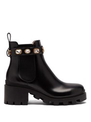 Gucci Trip Embellished Leather Chelsea Boots Black