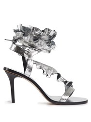 Isabel Marant Ansel Ruffle Trimmed Leather Sandals Silver