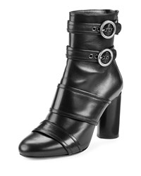 Lanvin Leather Buckle High Heel Bootie Black Women's