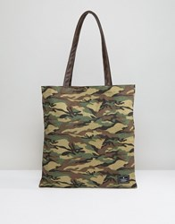 Asos Tote Bag In Camo Print With Faux Leather Straps Green